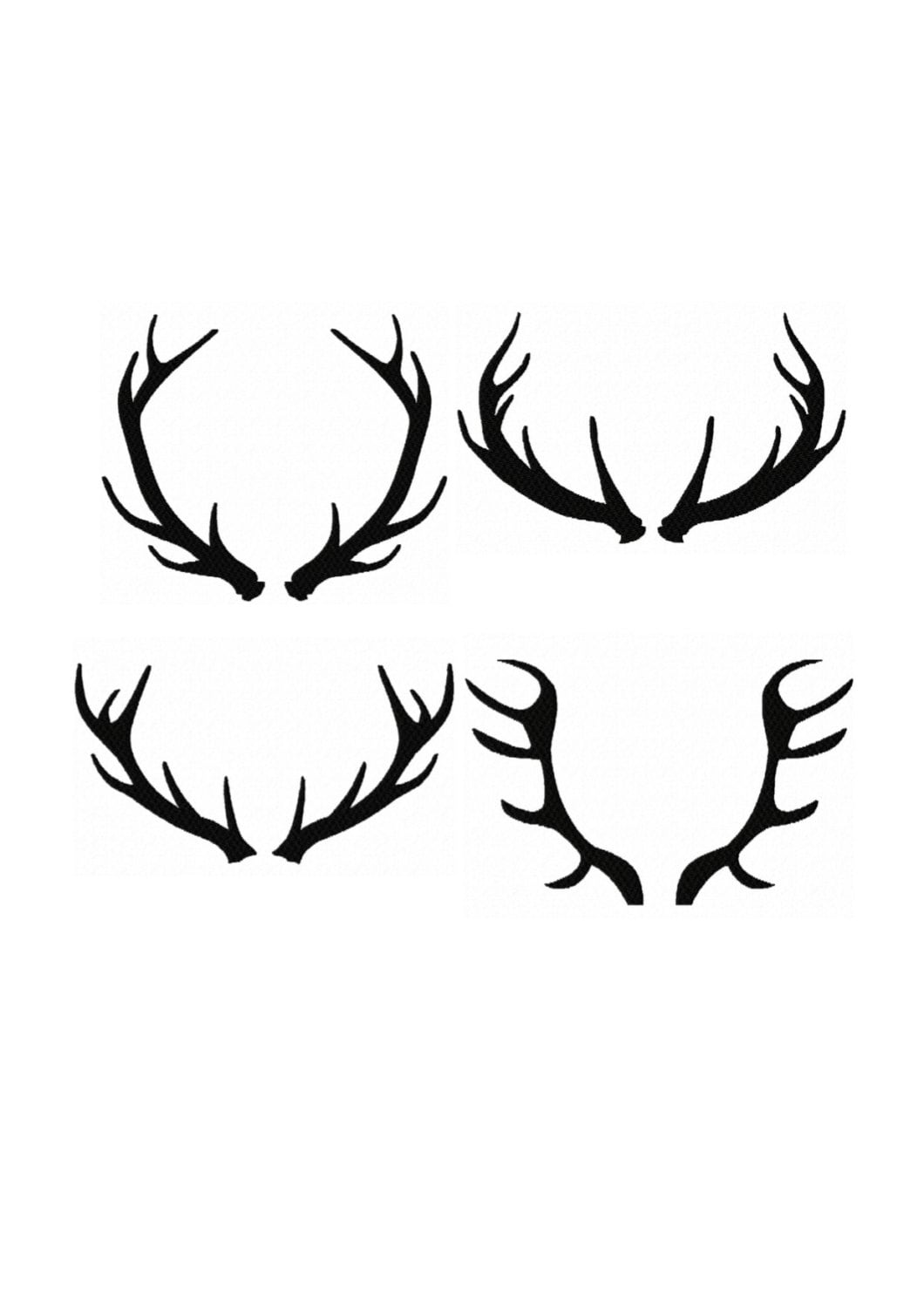 Set 4 Silhouette Buck Antlers...Instant Download...Pattern ...
