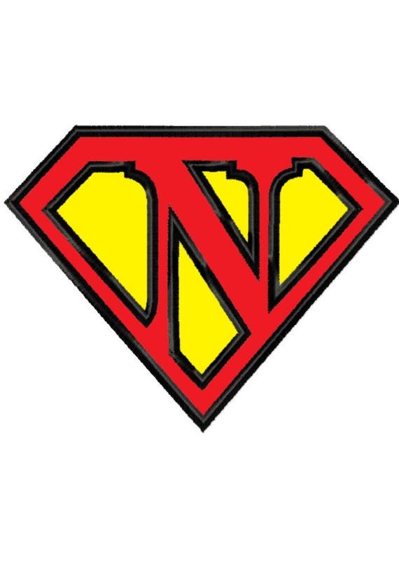 Lettre N. de Superman... Applique broderie Machine DESIGN n ° 381