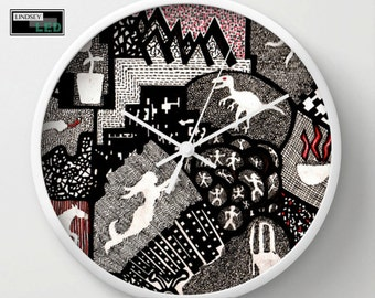 Objects Inside Shapes Wall Clock
