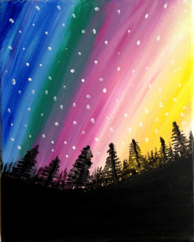 Northern Lights Acrylic Painting Canvas Art Cosmic Night