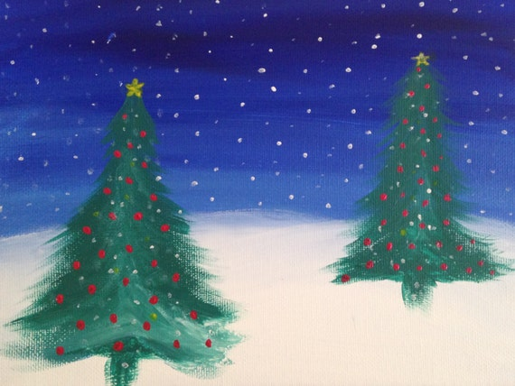 Acrylic Christmas Tree Painting.Merry Christmas Decor Fall Decor Christmas Tree Acrylic Painting Canvas Art Wall Art Wall Decor Tree Snow Ice Blue Green White Painting