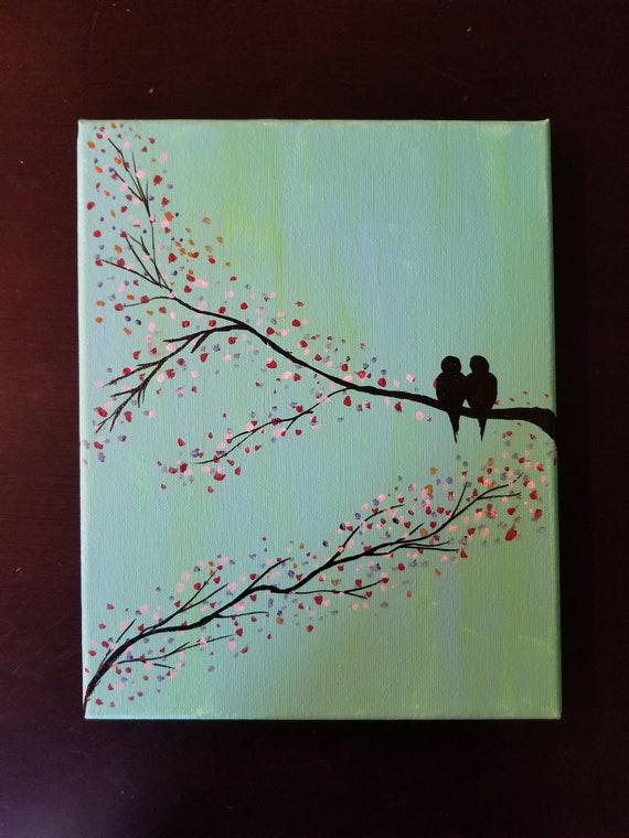 Colorful love birds wall art acrylic canvas painting sale lovers gift  nature scenic wall decor bird tree silhouette Valentine day gift idea