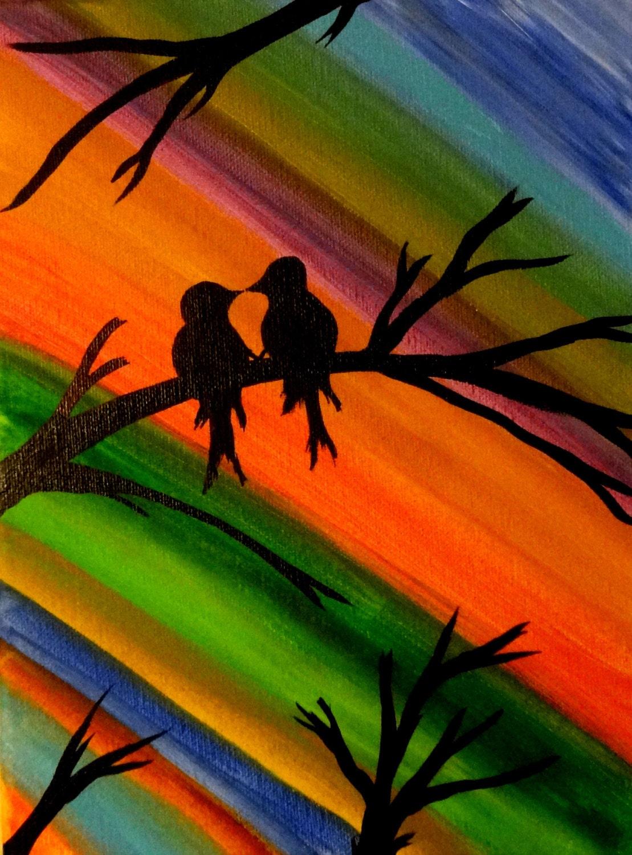 Love bird painting Colorful art Bird lover Contemporary Canvas  dd23b92b06