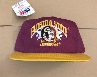2cc773102a257 Vtg deadstock FSU Florida state university seminoles snapback hat cap ncaa  90s jersey logo noles football baseball st vintage nwt