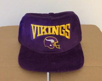 e7122c18cb3 vtg deadstock minnesota vikings corduroy snapback hat cap 90s jersey logo  rare new era nfl ds og helmet diggs football made in usa