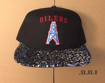 Vintage deadstock Houston Oilers snapback hat cap 90s jersey logo nfl  helmet football AJD zubaz rockets 096338658156