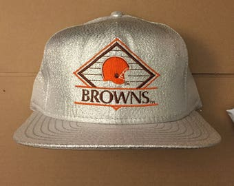 Vintage deadstock Cleveland Browns snapback hat cap 90s jersey logo cavs  nwt nfl 80s kosar metallic dawg pound b53d9b6b1