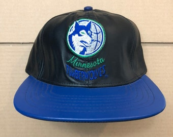 Vintage deadstock leather Minnesota Timberwolves snapback hat basketball  jersey 90s 80s nba NWT jeff hamilton JH made in usa t-wolves 26825c56c