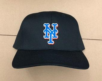 b8adf140 vintage NWT New York Mets snapback hat NY MLB deadstock nym 90s 80s baseball  cap black blue orange
