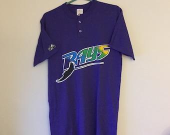 45a35c04 Vtg deadstock Tampa Bay Devil Rays jersey henley shirt MLB 90s bucs TB  baseball m medium
