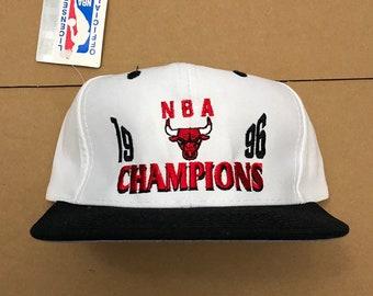 bca960f5018 vintage NWT 1996 chicago bulls NBA finals champions snapback hat cap 90s  jersey logo air jordan OG nba pippen