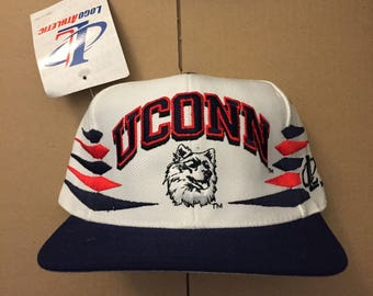 0f7d534c387 Vintage Uconn Huskies snapback hat cap university of Connecticut deadstock  ds nwt 90s 80s ncaa basketball hoops logo athletic