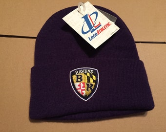 e3aac5f1824 Vintage deadstock baltimore ravens winter beanie knit hat cap 90s jersey  logo nfl logo athletic