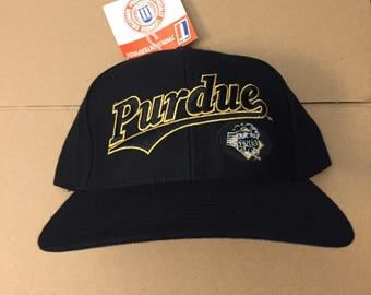 28f033e18f8 Vintage Purdue Boilermakers snapback hat cap university deadstock ds nwt  90s 80s ncaa basketball hoops football ncaa