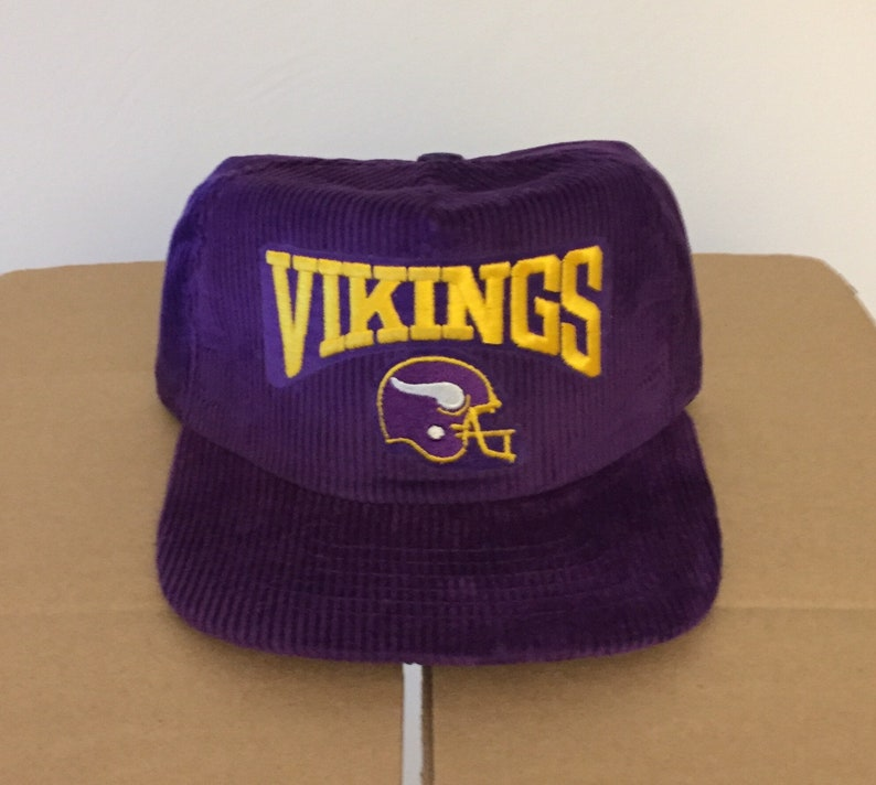 b7475bac vtg deadstock minnesota vikings corduroy snapback hat cap 90s jersey logo  rare new era nfl ds og helmet diggs football made in usa