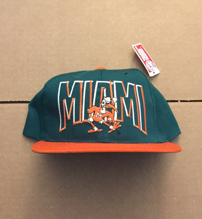 Vintage deadstock Miami hurricanes snapback hat baseball cap  f551dbe8689