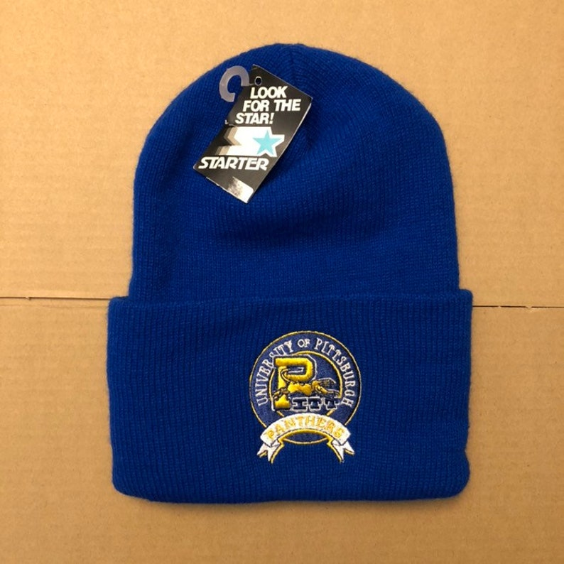 f7c7f7100 vintage NWT deadstock university of Pittsburgh Panthers winter beanie knit  hat Pitt cap 90s 80s marino football basketball starter