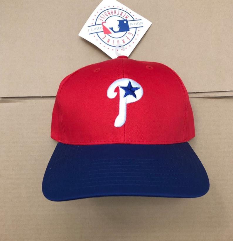 56e1e3e1 Vintage deadstock Philadelphia Phillies snapback hat cap 90s jersey logo  Mlb helmet eagles baseball