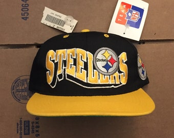vintage deadstock pittsburgh steelers snapback hat cap 90s jersey logo brown bell penguins pirates nfl ds nwt bettis g gcap