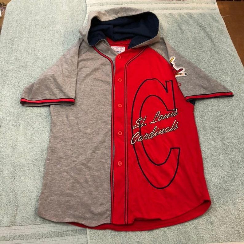 newest 9ad6d 926a4 Vtg starter St. Louis Cardinals jersey hooded button up shirt hat MLB 90s  STL cards 80s baseball World Series vintage st