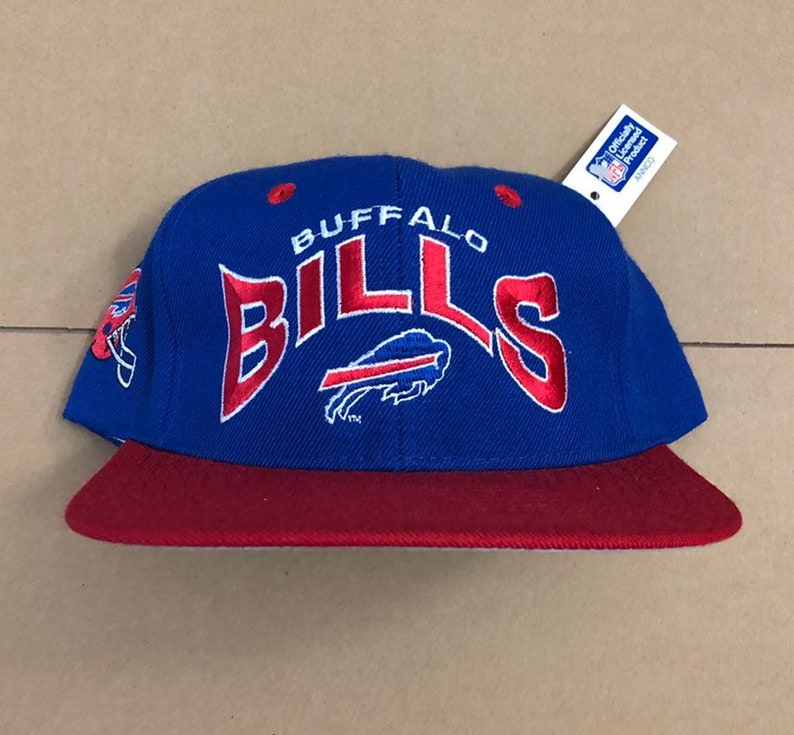 b17fbea1 Vintage deadstock buffalo bills snapback hat cap 90s jersey logo nfl sabres  80s era annco new with tags