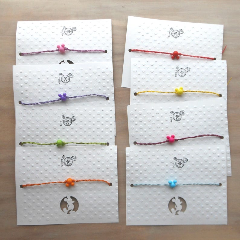 birthday Party favor ankle or anklet Mickey Mouse ears wish bracelet friendship vacation Package of 8 Cruise Fish extender gift