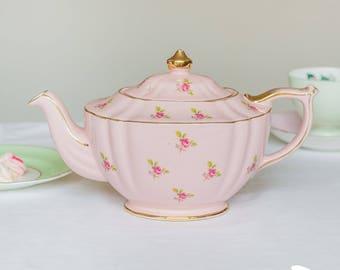 Shabby chic vintage pink oval shaped Sadler teapot, pink ditsy rose chintz