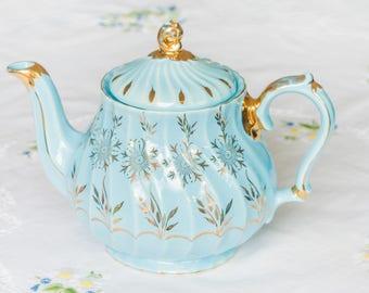Lovely vintage Sadler teapot, blue with gold motif