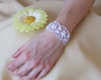 Elegant and simple bridal lace wedding bracelet with flower pattern and embroidery, Wedding lace jewelry, Wedding flower bracelet