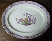 Antique Purple Transferware Chinoiserie Meat Platter 39 Musician and Lady with Fan 39 Pattern 16 quot x 12 3 4 quot 41cms x 32.5cms