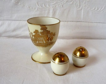 Vintage Noritake China Egg Cup and Cruet Gold Willow Pattern