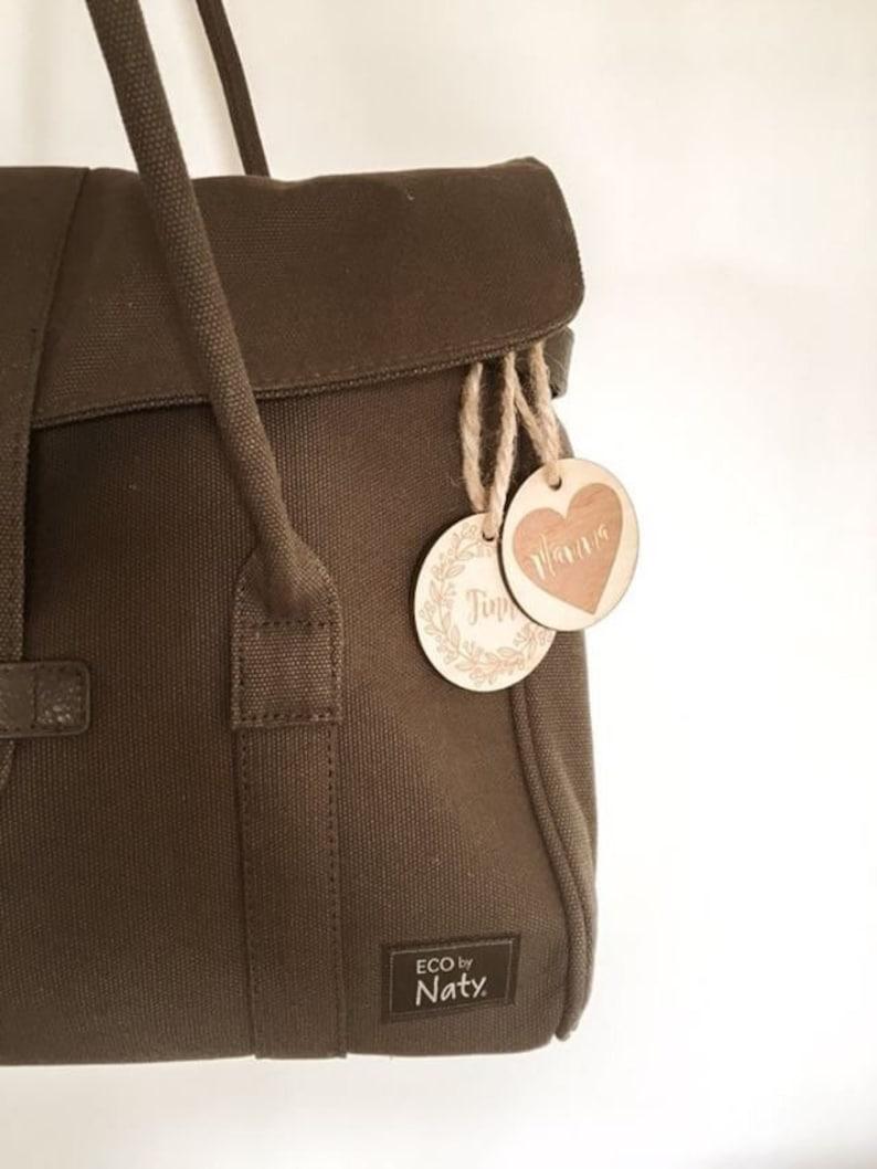 5ff6f82818 Lux WOODEN BAG TAGS baby bag kids school bag laser etched