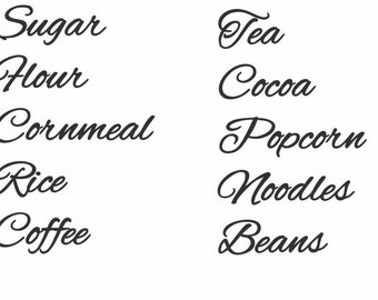 Set of 10 Canister labels, choose your labels, Pantry labels, Vinyl decals, kitchen, 1 or 2 inches