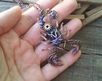 Blue scorpion necklace, Scorpio jewelry, Scorpion, Steampunk scorpion