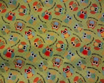 PUL fabric, diaper fabric, polyurethane laminate fabric,  PUL fabric owls on green print, 1 Yard.