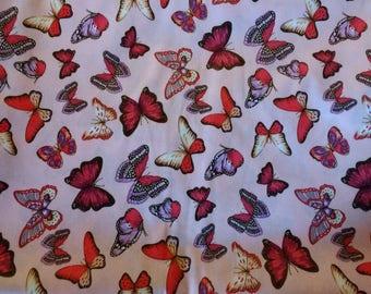PUL fabric, diaper fabric, polyurethane laminate fabric,  PUL fabric pink butterflies print, 1 Yard.