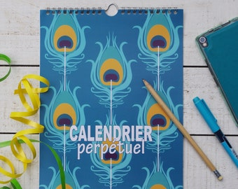 perpetual calendar in french with peacock pattern, Birthday calendar, blue