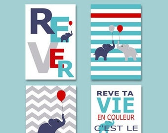 4 posters boy quotes with elephant for child decoration, baby room
