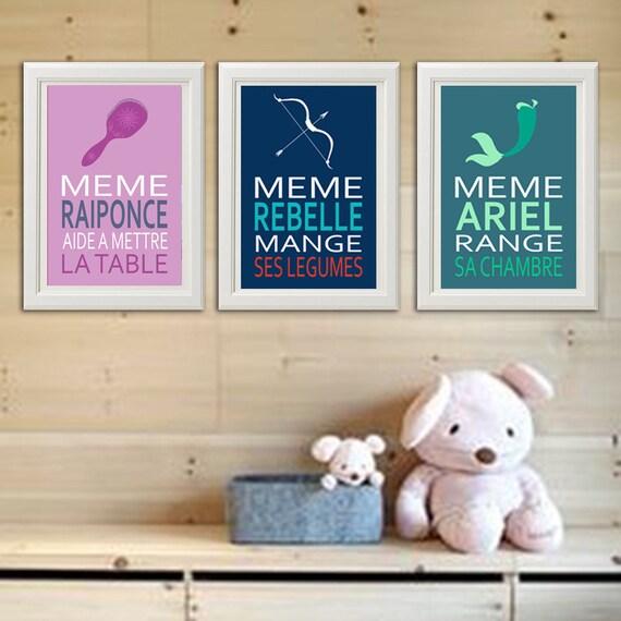 3 Affiches Citation Avec Ariel Rebelle Raiponce Conseil Enfant Avec Humour Poster Fille Pour Chambre