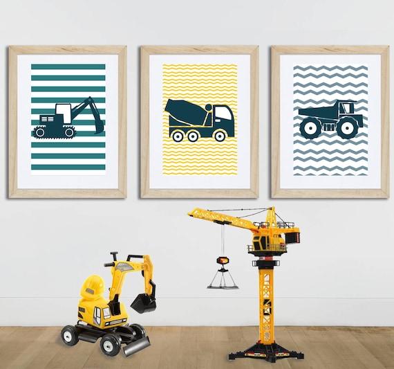 3 Affiches Enfant, Tracteurs, Camions, Engins De Chantiers, Affiche Garçon