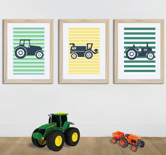 3 posters colorful on farm with tractors wall art baby room | Etsy