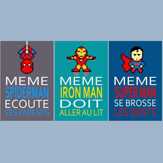 3 Affiches Superheros Avec Citation Pour Decoration Murale Etsy
