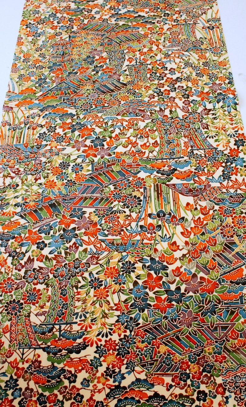 Beige Crepe Rainbow 39 Vintage Japanese Silk Kimono Fabric