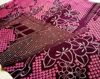 Vintage Japanese Kimono Silk Fabric   Hitta printing  