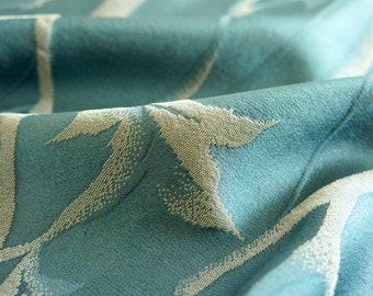 "Japanese Kimono Fabric   Teal Woods   100cm(39"")   Vintage   Silk   Panel   Patchwork"