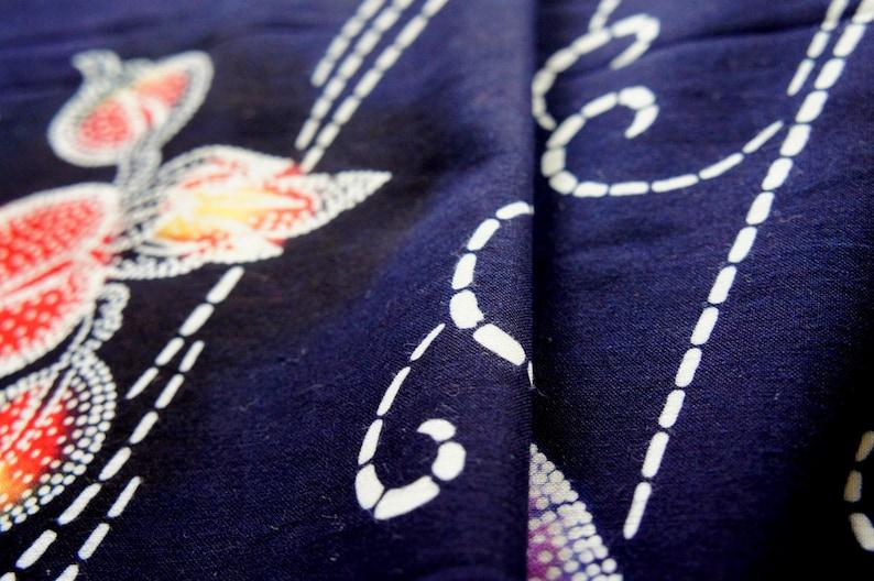Vintage Japanese Kimono Cotton Fabric Navy Yukata Iris 160cm 63