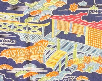 Japanese Kimono Fabric | Blue City  | Vintage | Silk| Panel | Patchwork