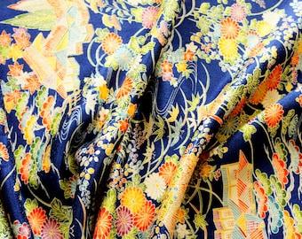"Japanese Kimono Fabric   Stream   100cm(39"")   Vintage   Silk   Panel   Patchwork"