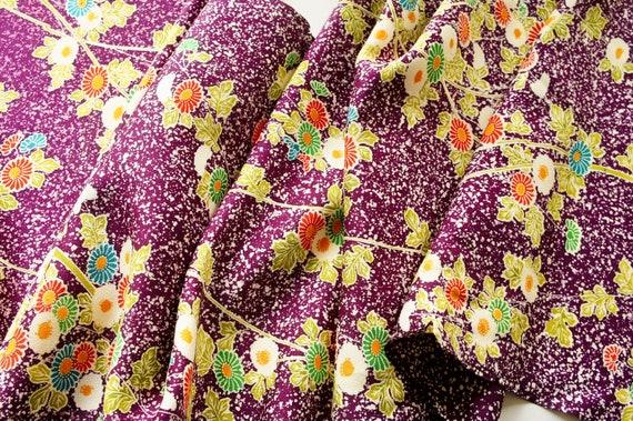 """Vintage Japanese Kimono Silk FabricPurple Rainbow 65/"""" Quilting craft panel"""