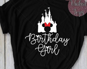 Disney Birthday Girl T Shirt Or Tank Women Kids WDW Magic Kingdom Shirts Minnie Castle Best Ever